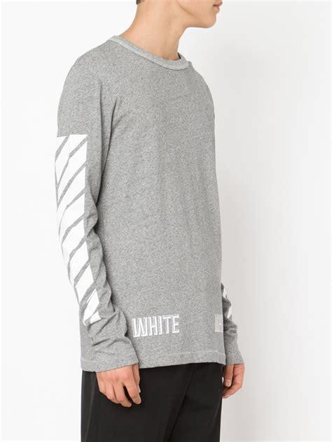 21811 Blouse Graywhite lyst white c o virgil abloh sleeve t shirt in gray for