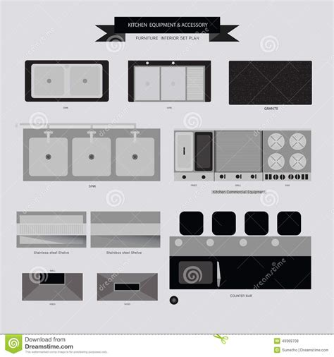 kitchen furniture plans kitchen equipment and accessory furniture icon stock