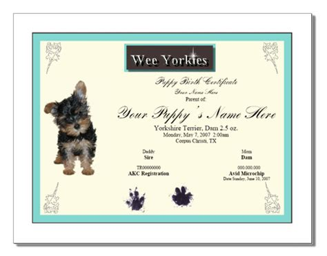 puppy birth certificate template free puppy birth certificate template free puppy birth