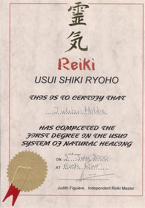 golden reiki  certificates