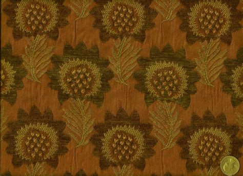 danish modern upholstery fabric danish mid century modern floral copper brown gold