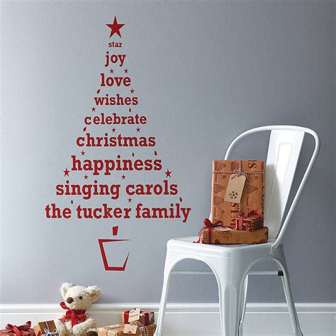 Christmas Wall Decoration Ideas Personalised Christmas Tree Wall Sticker By Spin