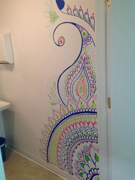 henna design wall stencils custom freehand mural done at the art factory and party
