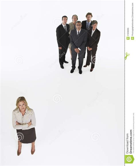 appart from businesswoman standing apart from group royalty free stock photo image 31838995