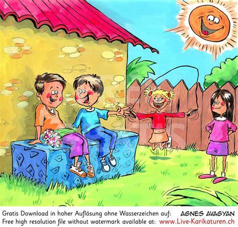 garten comic pausenspiele garten kinder agnes live karikaturen