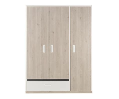 armoire enfant il 233 o 3 portes bois et blanche