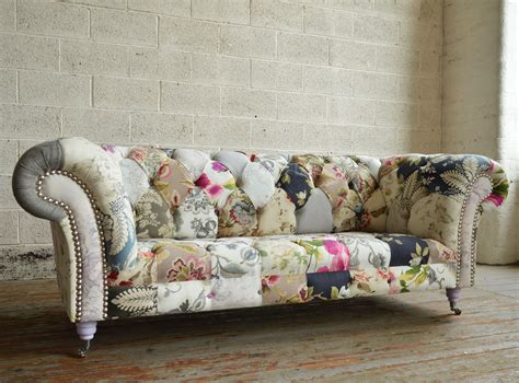 Handmade Vintage Grace Floral Patchwork Chesterfield Sofa Chesterfield Patchwork Sofa