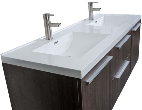 Buy 59 Inch Wall Mounted Modern Double Vanity in Grey Oak