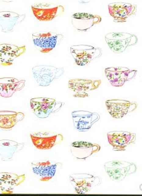 pretty nostalgic wallpaper wall panel painted teacups
