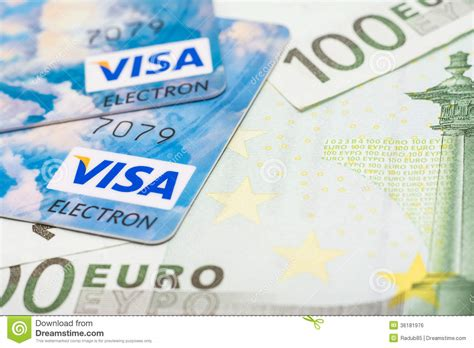 Euro Visa Gift Card - visa credit cards and euro banknotes editorial photo