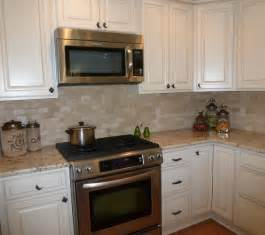 Pictures Of Kitchen Countertops And Backsplashes Colonial Gold Granite And Tumbled Travertine Backsplash
