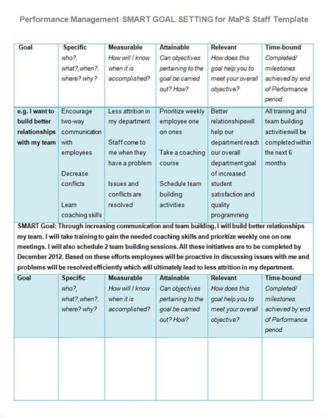 goal setting template   word  document