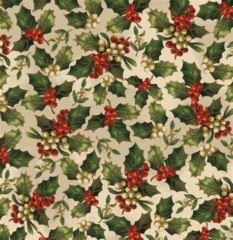 christmas pattern white background victorian christmas wrapping paper holly berries on white