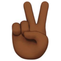victory hand: medium dark skin tone emoji (u+270c, u+1f3fe)