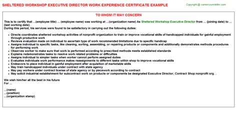 certify letter for director sheltered workshop executive director work experience