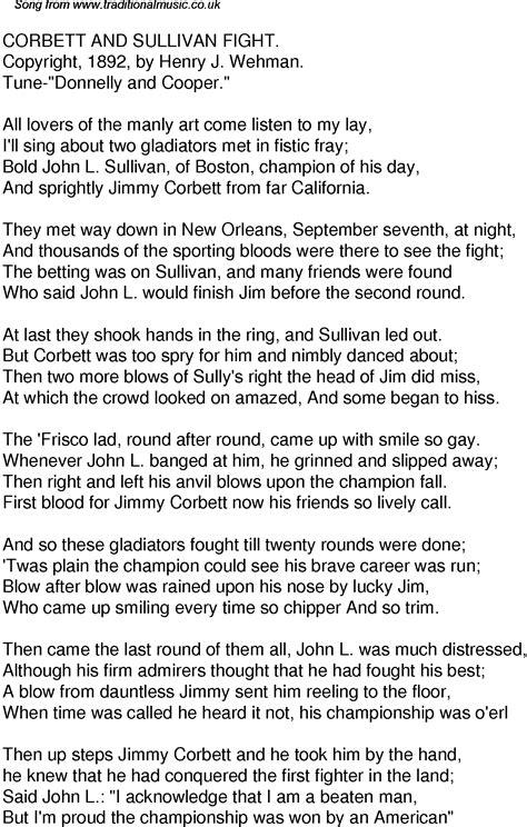 An American Lyrics Time Song Lyrics For 36 Corbett And Sullivan Fight