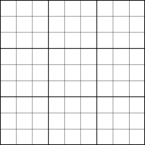 Sudoku Template printable 9x9 sudoku puzzle template