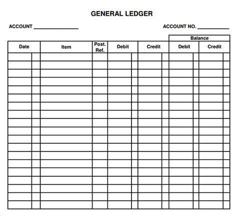 ledger accounts template general ledger template