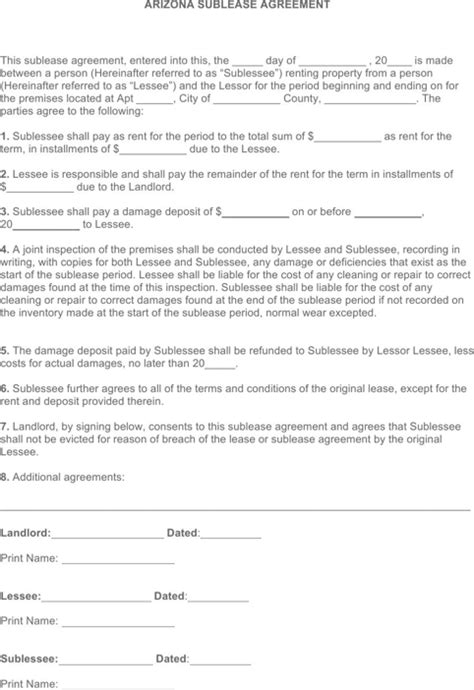 printable lease agreement arizona download arizona rental agreement for free formtemplate