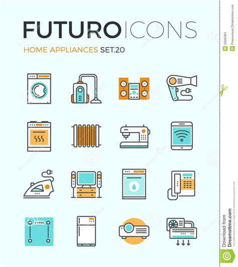 home design elements reviews appliances futuro line icons stock vector image 53565901