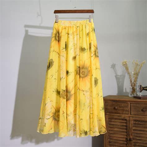 2016 summer yellow flower print chiffon skirt three layers high waist maxi skirt boho