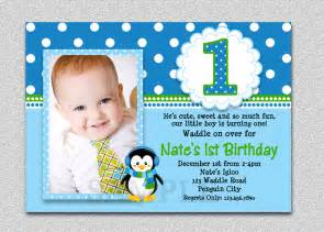 penguin birthday invitation penguin 1st birthday invites