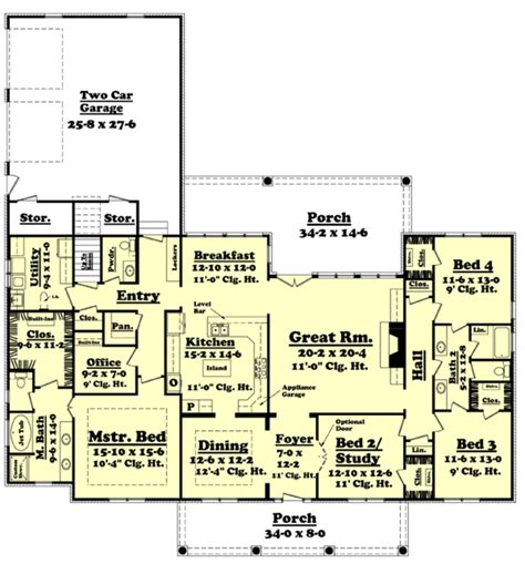 5 sq feet southern style house plan 4 beds 2 5 baths 2900 sq ft