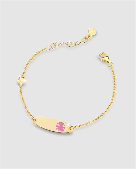 cadenas personalizadas bebe pulsera ni 241 a en oro y esmalte lebeb 233 183 lebeb 232 183 moda 183 el