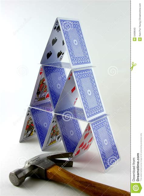 how to make a card tower tower of cards with hammer stock photos image 5499643