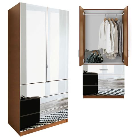 Mirrored Wardrobe Armoire by Alta Wardrobe Armoire 3 External Drawers Contempo Space