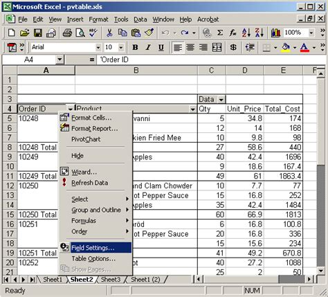 tutorial pivot table excel 2003 ms excel 2003 remove subtotals on pivot table rows