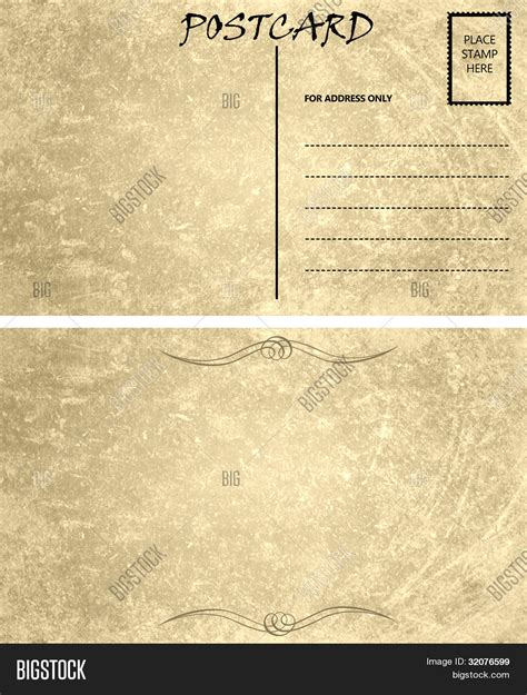 vintage empty blank postcard image photo bigstock
