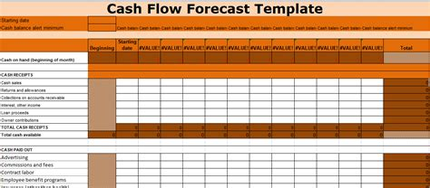 cash flow forecast template excel xlstemplates