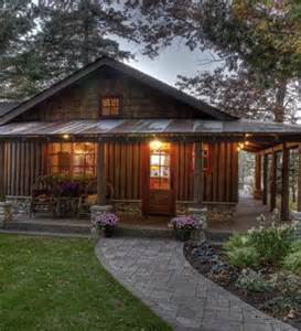 cabin cheery i like corrugated roofing used in wrap around porch with corrugated metal roof that s the look log cabins homes
