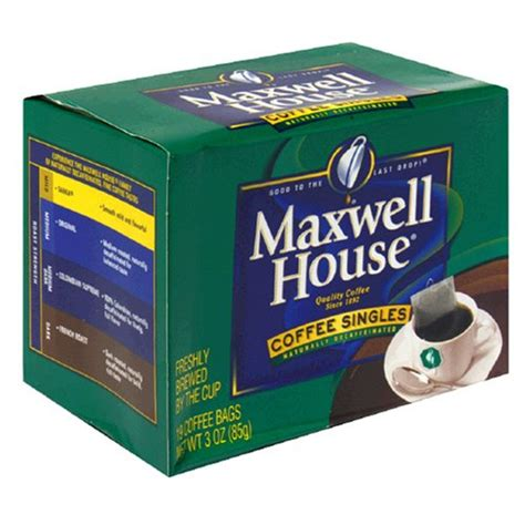 Single Serve Coffee Bags by Instant Maxwell House Decaffeinated Coffee Singles 19