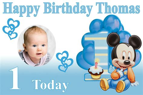large boys st birthday baby mickey mouse banner poster