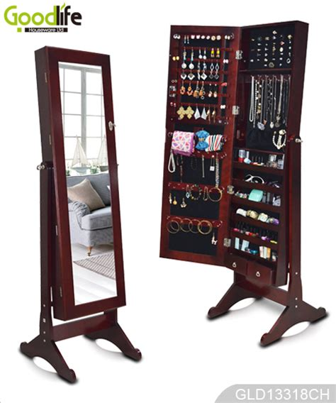 full mirror jewelry armoire standing wooden jewelry cabinet with full length mirror