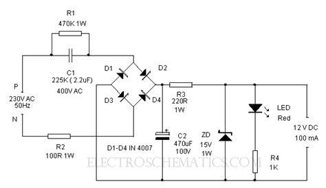 transformer less power supply circuit diagram