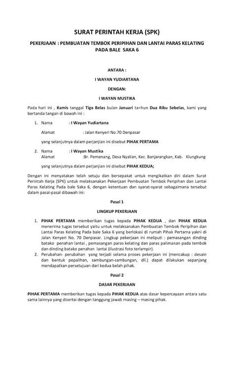 Contoh Surat Perintah Kerja by Pengertian Dan Contoh Surat Perintah 2018 Oktober 2018