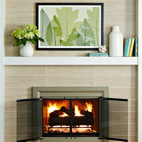 Pictures Of Fireplaces With Tile by Easy Fireplace Mantel Makeover Brick To Tile Design