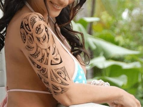 tribal half sleeve tattoos for women amazing grey ink tribal on right half sleeve