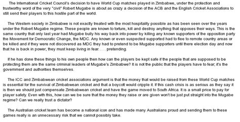 A Cricket Match Essay In by Australia S Decision To Play A World Cup Cricket Match In At Essaypedia