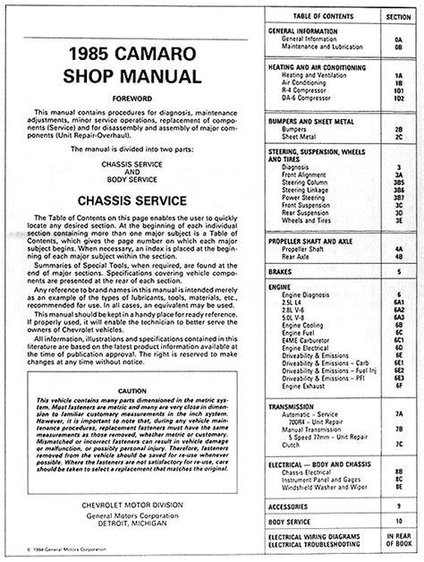 service manual pdf 1985 chevrolet camaro service manual haynes chevrolet camaro 1982 1992