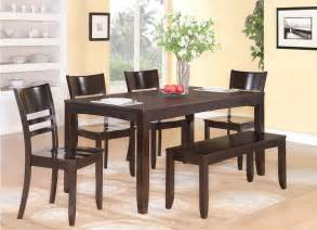 Dining Table Chairs And Bench 6pc Rectangular Dinette Kitchen Dining Table With 4 Wood Seat Chairs And 1 Bench Ebay