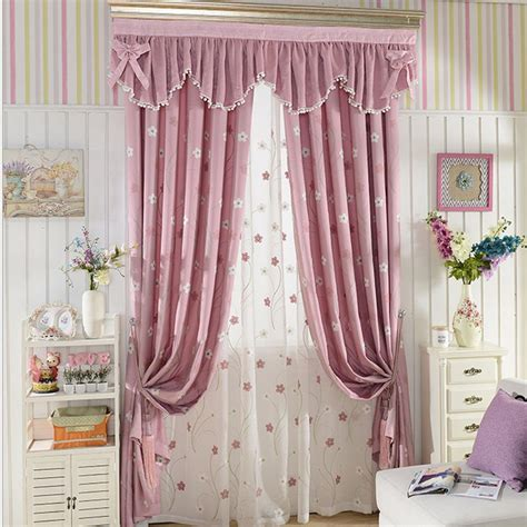 curtains for girls bedroom aliexpress com buy pink embroidered flower children