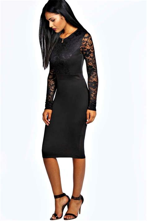 Get Macphersons Gucci Dress For 35 by Boohoo Lace Sleeve Bodycon Midi Dress In Black