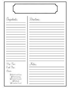 Free Black And White Recipe Card Template Word by 1000 Images About Recipe Scrapbooking Printables And