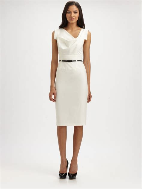Wst 9529 White Lace Belted Dress 1 lyst black halo jackie o belted dress in white