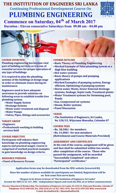 What Is A Plumbing Engineer by The Institution Of Engineers Sri Lanka Cpd Course