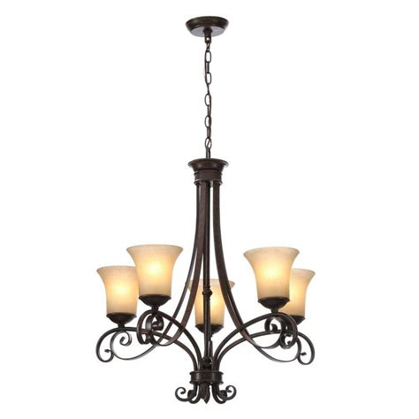 Hton Bay Chandelier Parts Hton Bay 14707 Essex 5 Light Chandelier Aged Black Finish Tea Stained Glass